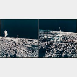 Apollo 12, Astronaut Alan L. Bean Walks from the Color Lunar Surface Television Camera and the Apollo Lunar Surface Experiments P...