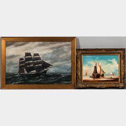 Two Framed Oils Depicting Sailing Vessels:    Vivian Forsythe Porter (American, 1880-1982), Clipper Ship Under Sail