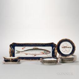 Twelve-piece Haviland Limoges Porcelain Fish Set