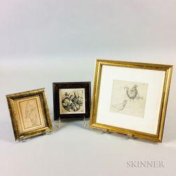 Three Framed Works on Paper