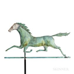 Molded Sheet Copper and Cast Zinc Trotting Horse Weathervane