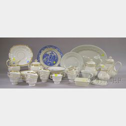Thirty-seven Piece Assembled Gilt Porcelain Partial Tea and Coffee Service and   Assorted Ironstone Tableware