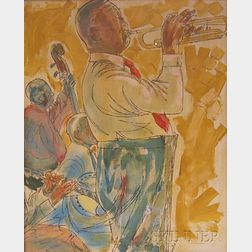 Two Framed Oil on Canvas Portraits of Jazz Musicians by Richard Freniere      (American, 1921-2008)
