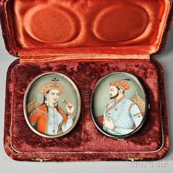 Pair of Miniature Portrait on Bone Plaques