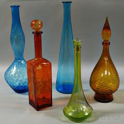 Five Venetian Glass Vases and Decanters