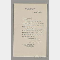 Taft, William Howard (1857-1930) Typed Letter Signed, Washington, D.C., 2 February 1905.