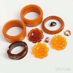 Group of Butterscotch Bakelite Jewelry
