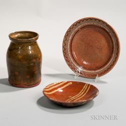 Two Redware Plates and a Jar