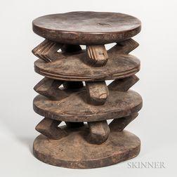 Kusu/Congo Carved Wood Stool
