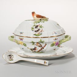 Herend Porcelain Rothschild Bird Pattern Tureen, Stand, and Platter