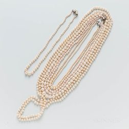Eight Cultured Pearl and Freshwater Pearl Necklaces