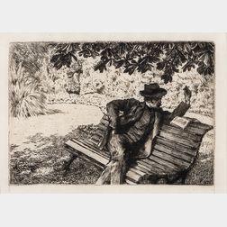 James Jacques Joseph Tissot (French, 1836-1902)      Denoisel, lecture dans le jardin
