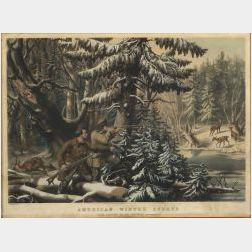 """Nathaniel Currier, publisher (American, 1813-1888)  AMERICAN WINTER SPORTS.  DEER SHOOTING """"ON THE SHATTAGEE."""""""