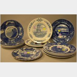 Thirteen Blue and White Historical Transfer Decorated Staffordshire Plates