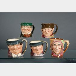Five Royal Doulton Character Jugs