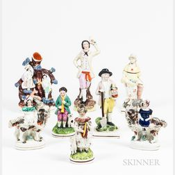 Eight Staffordshire Ceramic Figures and Figural Scenes