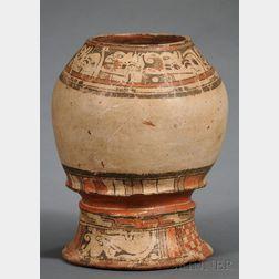 Pre-Columbian Polychrome Pottery Pedestal Urn