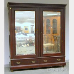 Late Victorian Cherry Mirrored Two-Door Wardrobe Cabinet