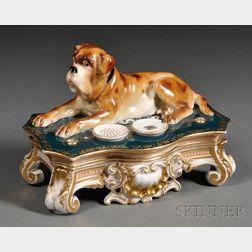 """C. Teichert """"Meissen"""" Porcelain Inkstand with Dog"""