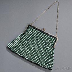 Green and Gray-beaded Silk Evening Bag