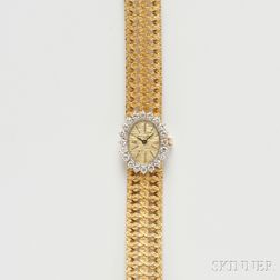 Lady's 18kt Gold and Diamond Wristwatch, Mathey-Tissot