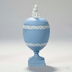 Wedgwood Solid Blue Jasper Vase and Cover