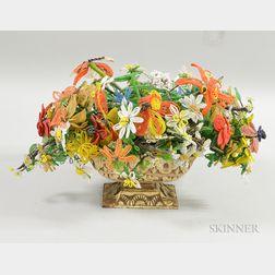 Beadwork Floral Arrangement in a Cast Iron Planter