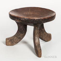 Ethiopian Carved Wood Three-legged Stool