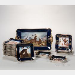 Assembled Twenty-one-piece Haviland Limoges Porcelain Game Set