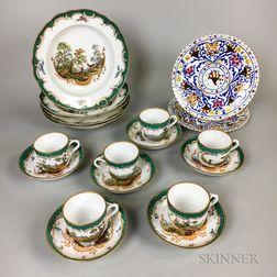 Seventeen-piece Set of Landscape-decorated Porcelain Tableware