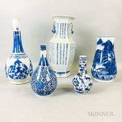 Five Blue and White Vases