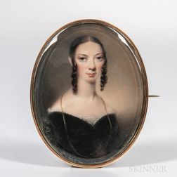 American School, Mid-19th Century      Miniature Portrait of a Woman
