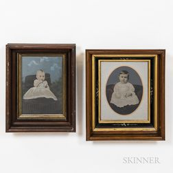 Five Framed Tinted Tintypes of Infants