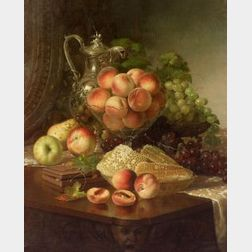 Robert Spear Dunning (American, 1829-1905)  Opulent Still Life with Peaches and Honeycomb