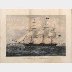 """Nathaniel Currier, publisher (American, 1813-1888)  CLIPPER SHIP """"NIGHTENGALE."""" GETTING UNDER WEIGH OFF THE BATTERY, NEW YORK."""