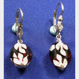 Platinum, Diamond, and Garnet Earrings, Cathy Waterman