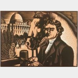 Charles Turzak (American, 1899-1986) Group of Seven Prints from the Life of Thomas Jefferson: Two Young Lawyers - Thomas Jefferson and