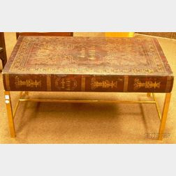 Oversized Decorated Faux Book-top Brass Coffee Table with Binding Drawer