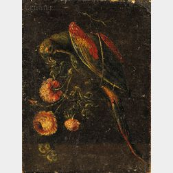 Flemish School, 18th Century Style      Parrot and Flowers