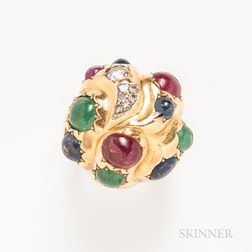 18kt Gold, Ruby, Sapphire, Diamond, and Emerald Ring