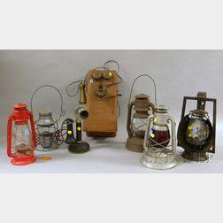 Five Tin Railroad Kerosene Lanterns and Two Kellogg Telephones