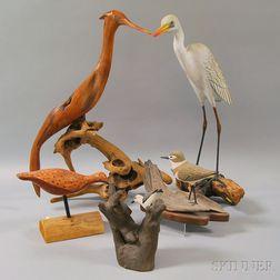 Five Mounted Bird Carvings