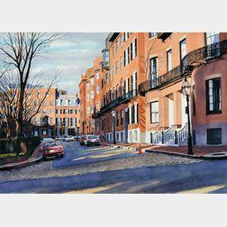 Sergio Roffo (American, b. 1953)      Louisburg Square  /A Beacon Hill, Boston, View