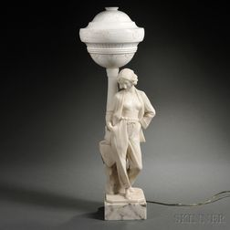 Art Deco Figural Alabaster and White Onyx Table Lamp