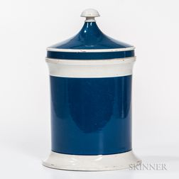 19th Century Blue and White Porcelain Apothecary Jar