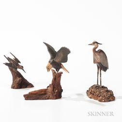 Three Carved and Painted Miniature Birds
