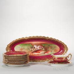 Ten-piece Limoges Porcelain Fish Set