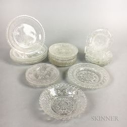Nineteen Sandwich Colorless Pressed Glass Cup Plates.     Estimate $150-250