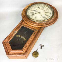 "Waterbury Clock Co. ""Admiral"" Pine and Oak Calendar Clock"