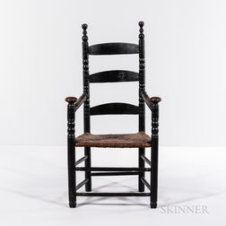 Black-painted Turned Slat-back Armchair